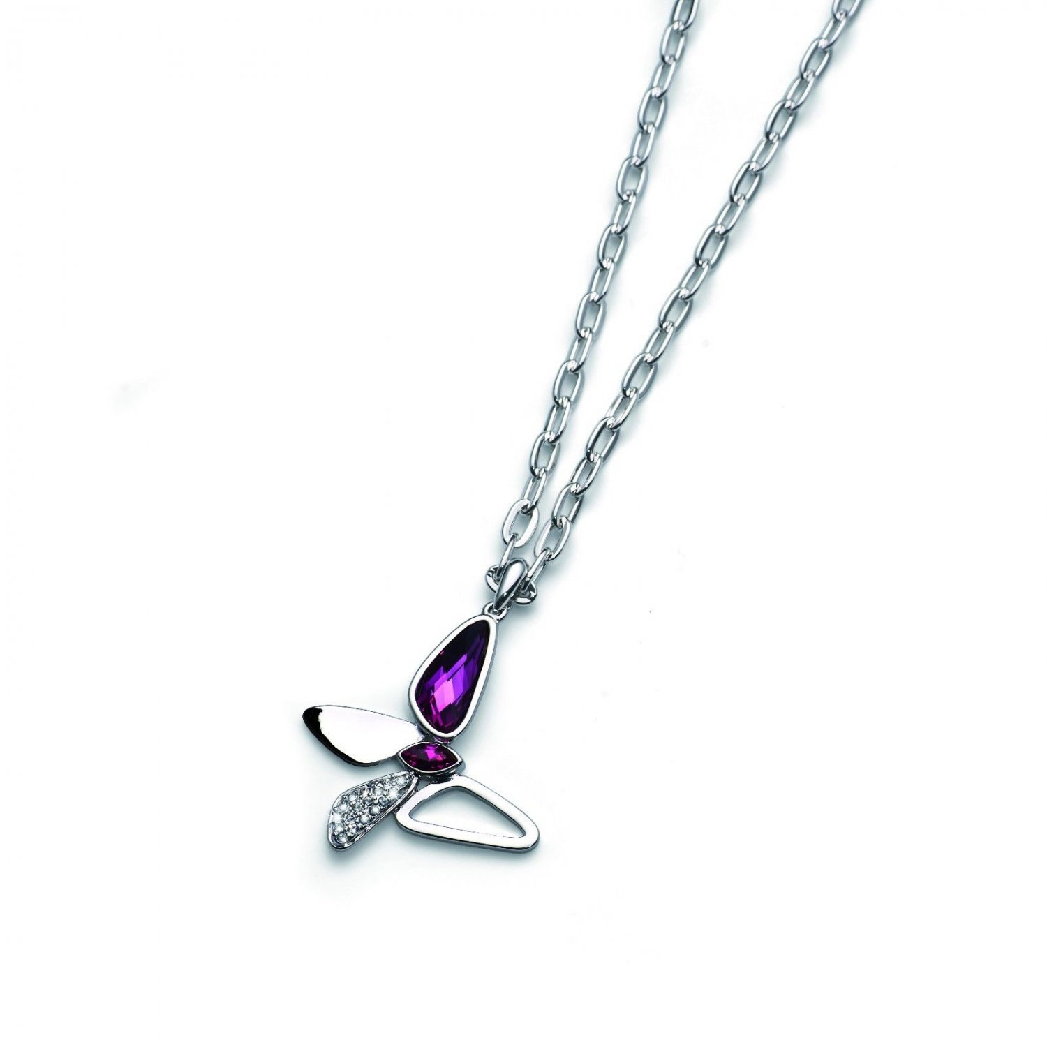 Silver Chain Necklace Swarovski Elements Fuchsia Butterfly Oliver Weber