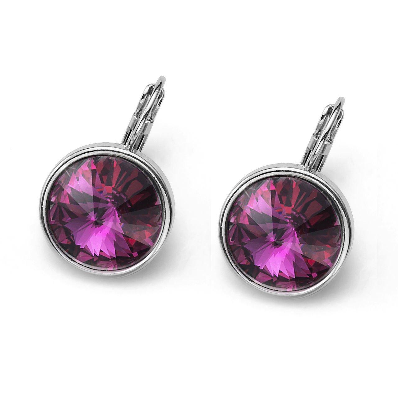 Fun Silver Bezel Fuchsia Swarovski Elements Pierced Earrings Oliver Weber