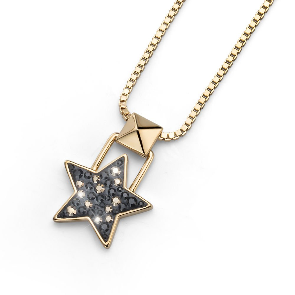 Black & Yellow Gold Lucky Star Chain Necklace Swarovski Elements Oliver Weber