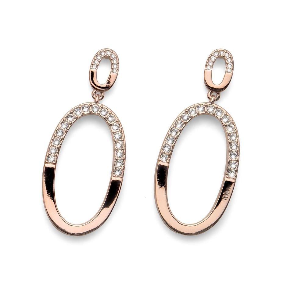 Oval Rose Gold Clear Swarovski Elements Dangle Earrings Oliver Weber