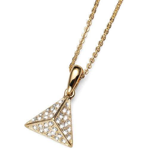 Equal Gold Pyramid Pendat Neacklace Swarovski Clear Elements Oliver Weber 11491G