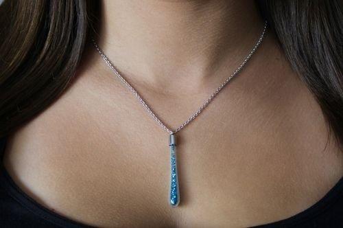 Blue Indicolite Swarovski Elements Glass Pendant Silver Necklace Oliver Weber