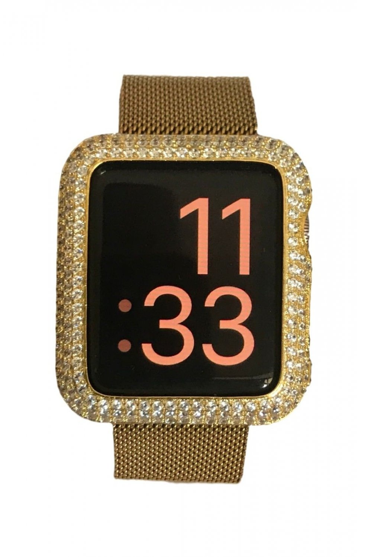 Series 1 & 2 Bling Apple Watch Zirconia Yellow Gold Bezel Face Case Insert