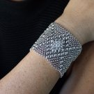 Liquid Metal Silver Mesh  Cuff Bracelet Crystal Sergio Gutierrez RSB10 All SIZES