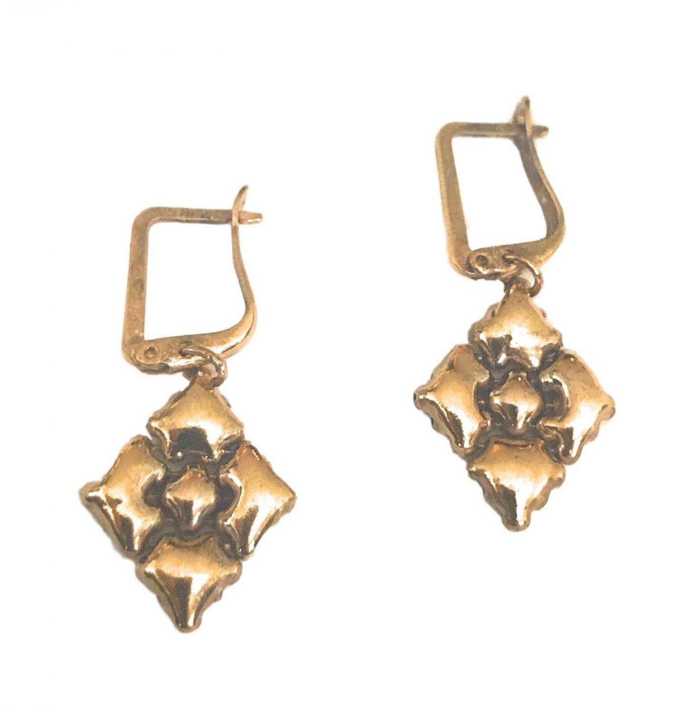 SG Liquid Metal Small Diamond Antique Gold Mesh Earrings by Sergio Gutierrez E34