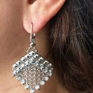 SG LIQUID METAL ZIRCONIA DANGLE DROP SILVER BALL CHAINMAIL EARRINGS CME4Z