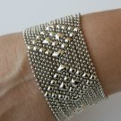 SG Liquid Metal Silver Mesh Cuff Bracelet by Sergio Gutierrez TB32 / All SIZES