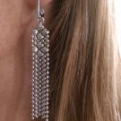 SG LIQUID METAL BALL CHAIN DROP SILVER MESH FRINGE EARRINGS E31 Sergio Gutierrez