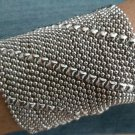 SG Liquid Metal Diagonal Lines Silver Mesh Wide Cuff Bracelet B27 / All SIZES
