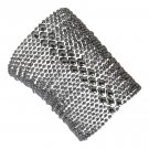 SG Liquid Metal Bracelet Silver Wide Mesh Cuff by Sergio Gutierrez B104