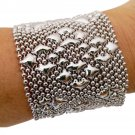 SG Liquid Metal Double Diamond Mesh Bracelet Silver Mesh Cuff B107 / ALL SIZES