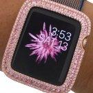 Series 1,2,3 Bling Apple Watch Bezel Case Rose Gold Plated Pink Zirconia 38/42mm