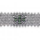 SG Liquid Metal Antique Silver Mesh Peridot Green Crystals Cross Cuff Bracelet