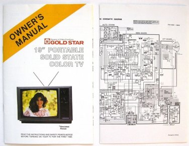 """Owner's Manual with Schematic for Goldstar 19"""" Portable Solid State Color TV"""