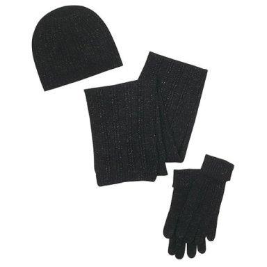 Women's NEW Blk hat/gloves/scarf set w/Metallic threads