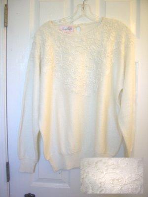 Jaclyn Smith Womens Sweater Gorgeous White w/ pearls crochet
