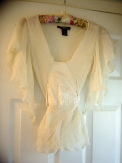 Heart Moon Star Sheer Hippie Top with silk Tie Size S