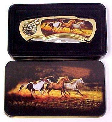 Horses Knife in Metal Tin
