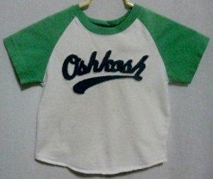 Boy's White and Green OshKosh Shirt - Size 3T