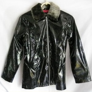 Girl's Black Sparkled Rain Coat - Size 14/16
