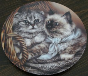 Heather & Hannah Cat Plate by The Bradford Exchange