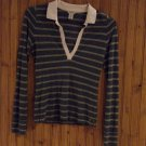 American Eagle Long Sleeved V Neck Striped Shirt