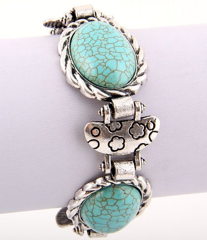 Circle Design Turquoise Gemstone Bracelet