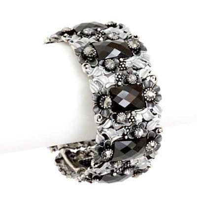 Black and White Crystal and Flower Crystal Bangle Bracelet