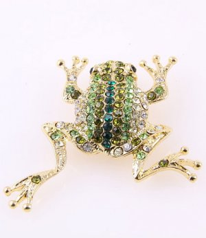 Green Crystal Frog Brooch  (Free Shipping)