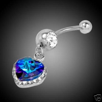 Blue Swarovski Crystal and Rhinestone Navel Ring