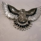 Rhinestone and Black Silver Tone American Eagle Belt Buckle
