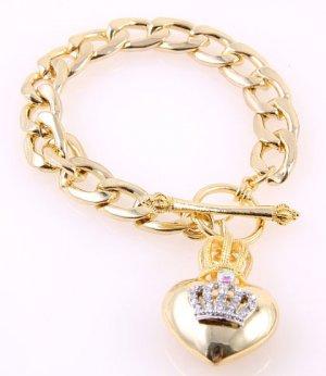 Designer Inspired Crown Over Heart Charm Bracelet