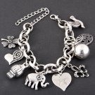 Four Leaf Clover, Elephant, Hearts and Ribbons Charm Bracelet