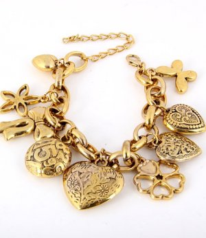 Butterfly, Four Leaf Clover, Hearts, and Ribbon Charm Bracelet