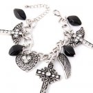 Rhinestone and Beads Angel Wing, Crosses, and Heart Charm Bracelet