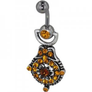 Orange Blooming Flower  October Belly Jewelry