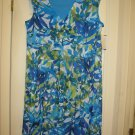 Women's Blue Floral Tiered Empire Waist Dress, Size 16W