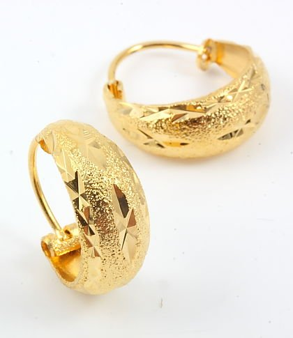 Gold Plated Hoop Earrings, 0.6""