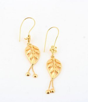 Gold Plated Filigree Hearts Drop Earrings