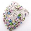 Flower Brooch, Multi-color Swarovski Crystals and Rhinestones