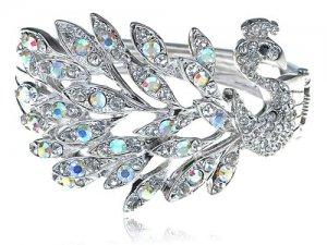 Peacock Bracelet, Silver Tone