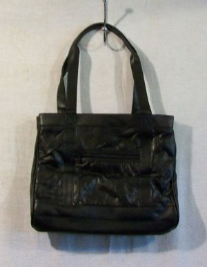 Women's Black Leather Handbag with Accessories