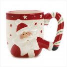 Christmas, Candy Cane Santa Mugs, Set of 2