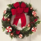 Lighted Peppermint Wreath