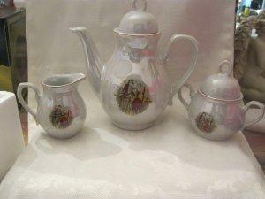 Tea Set, Childrens 17 PC Coffee / Tea Set, Cream with Roses