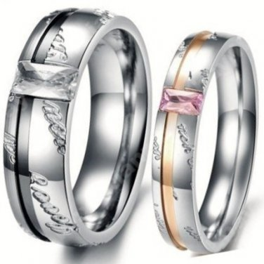 CZ Diamond Elements Couples Love Rings, 2 PC Set