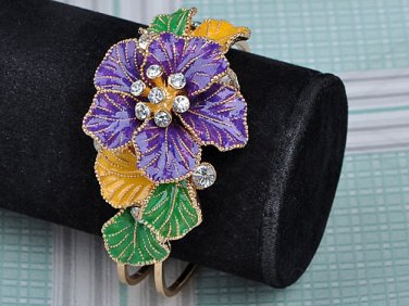 Hand Painted Swarovski Crystal Hinged Bracelet