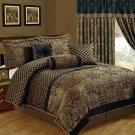 7-Piece Jacquard Floral Comforter Set, Cal King, King, Queen