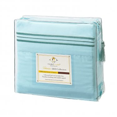 Clara Clark Soft as Egyptian Cotton 4 PC Queen Sheet Set, Aqua