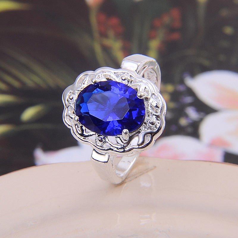 BNBWOT ~ Sterling Silver Sapphire CZ Gemstone Ring, Size 9